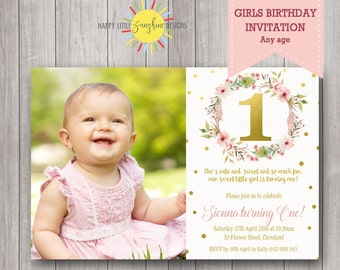 Custom Printable Photo Girl Birthday Invitation Any Age 1st Birthday Floral Wreath Feathers Gold Pink