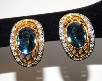 Free Shipping HUGE Vintage Gorgeous Large Blue Stone / Crystal Oblong Earrings.