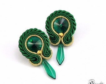 Small Green Soutache Earrings, Soutache Stud Earrings, Green Soutache Earrings,Soutache Jewelry,Post Small Earrings,Orecchini Green Soutache