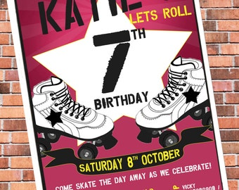 Personalised Roller Skating / Boots Party Invitations