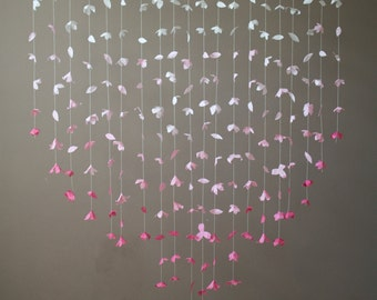 Anthropologie Inspired Paper Flower Garland- Pink Ombre