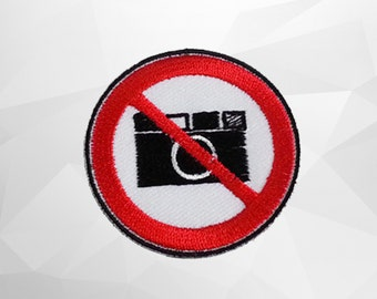 DO Not Take a Photo Sign Iron on Patch (M1)-  Don't take a photo Iron on Patch-Size 4.8cm