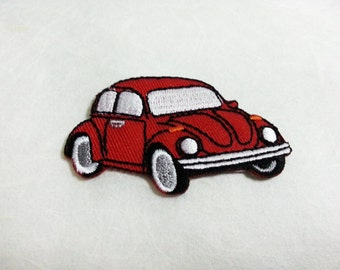 Red Volkswagen Beetle Bug Iron on patch (S) 5.8 x 4.6 cm - Car Applique Embroidered Iron on Patch