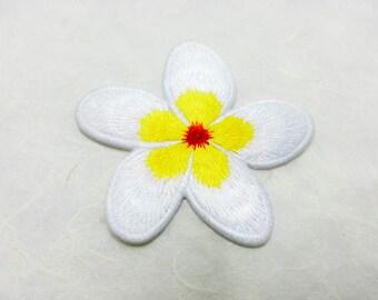 White & Yellow PlumeriaI Iron on Patch /Frangipani Flower/ Flower Patch /Embroidered Flower Iron on Patch / Flower Applique (6.4x6.4cm)