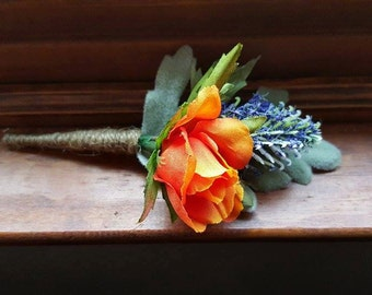 Deep Blue Thistle & Orange Mini Roses with Lambs Ear Boutineer/Boutonniere