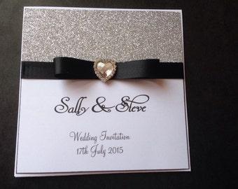 Handmade Personalised Sparkle Heart Pocket Fold Wedding Invitation Classic Glitter Diamanté Rhinetsone