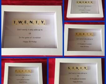 Quirky Happy Birthday Scrabble Frames