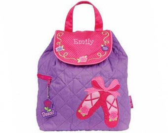 Personalized Pink Ballet Shoes Quilted Backpack