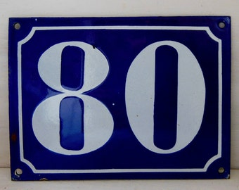 Vintage French enamel house NUMBER SIGN 80. White and blue. LARGE