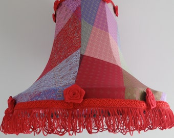 Handmade silk lampshade.  Red Rose