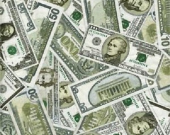 Money Fabric, Green Dollar Bills Fabric, Timeless Treasures C4423 fabric / 1/2 Yard Cuts / 1 Yard Cuts / Fat Quarter