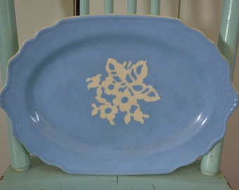 Vintage Cameoware by Harker Pottery Company Blue Floral Serving Platter - Made in USA