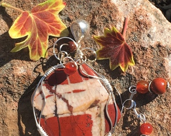 Forest Jasper wire wrapped pendant