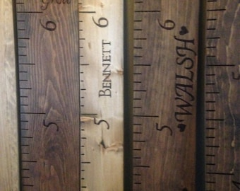 Personalized wood burned ruler growth chart