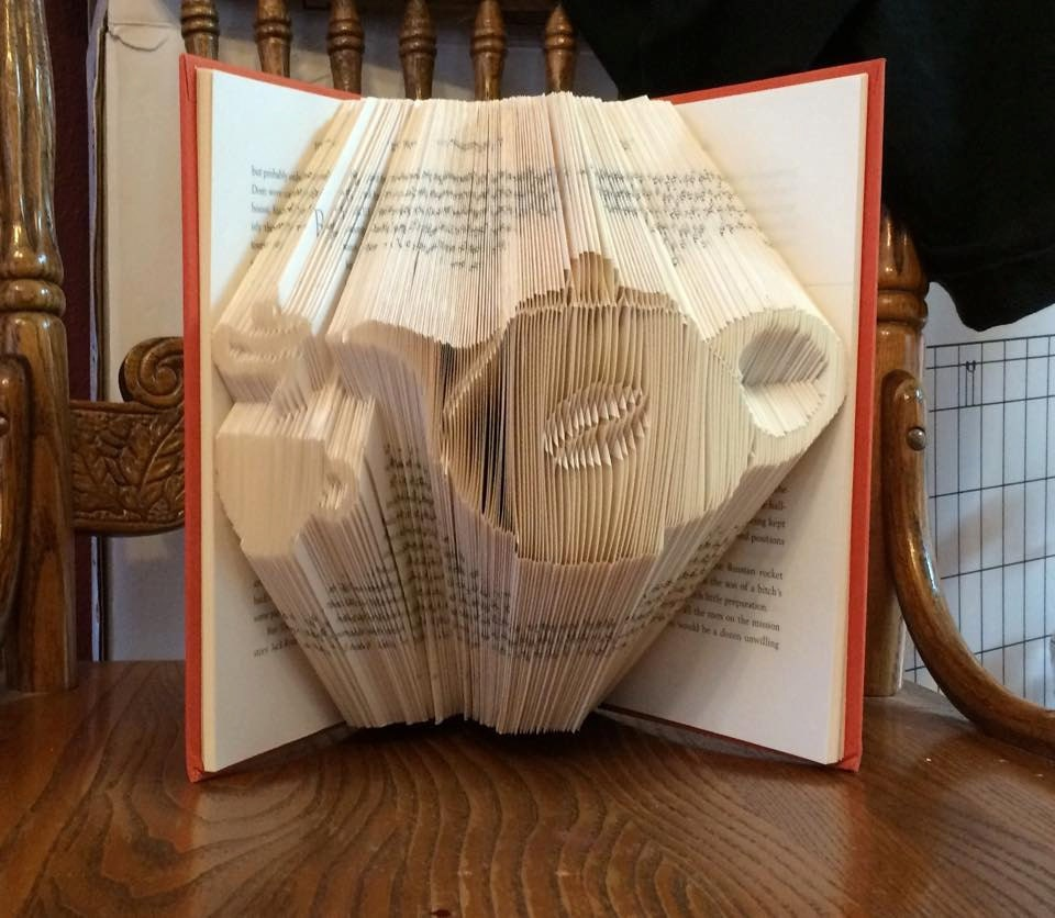 Book folding art pattern for a coffee pot and tea cup