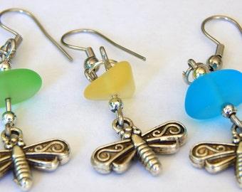 Sea Beach Glass Silver Dragonfly Earrings