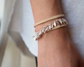 Leaf chain bracelet,leather wrap bracelet, tan leather bracelet,silver charm bracelet,wrapped leather bracelet, gift for her, birthday gift