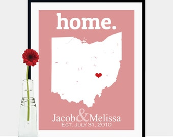 Ohio Gifts, Family Home Decor, First House Gift, Ohio Map Art, Ohio Wall Art, Ohio Print, Ohio Map Print, Ohio State - Any State or Country