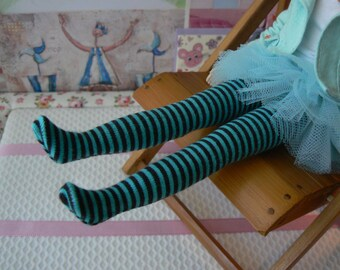 Blythe clothes Blue stripe over the knee Blythe socks handmade in Paris France