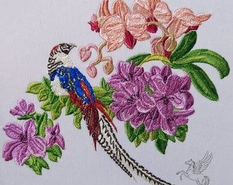 Machine Embroidery Design - Tropical bird with flowers - 2 sizes