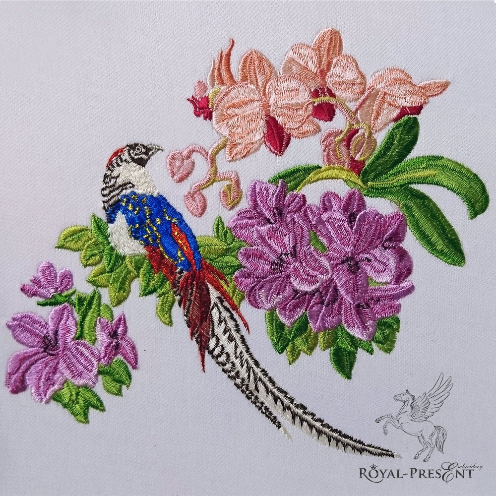 Machine embroidery design tropical bird with flowers
