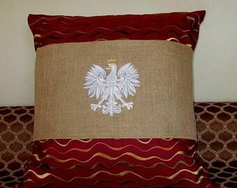 Polish Eagle pillow wrap.  Embroidered Polish Eagle decorative pillow wrap. Natural burlap pillow wrap with embroidered Polish Eagle