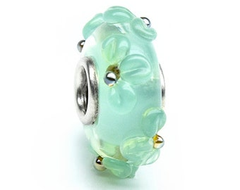 Handmade glass bead with silver tube