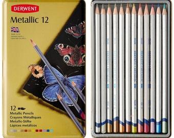 12 Count Derwent Metallic Watersoluble Pencils in Metal Tin