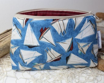 sailing boats makeup bag, cosmetic pouch, toiletry bag, zipper pouch, makeup organize