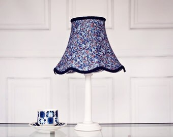 Blue Hand Stitched Lampshade Featuring a Navy Blue Liberty Fabric