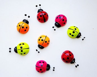 Colored ladybugs fridge magnets wooden painted ladybirds magnets