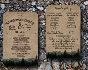 Custom Woodsy Wedding Programs with Pine Trees and Mountains/Camping Wedding Programs/Forest Wedding programs/Rustic wedding/camp wedding/