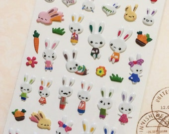 Cute Bunny Stickers from Japan - Rabbit Family
