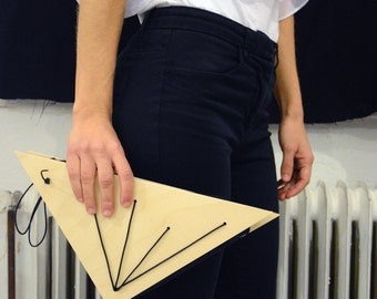 Wooden Clutch / triangle / woman fashion / gift for her / handmade