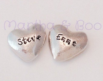 Valentine's gift, love token, pebbles, heart, loveheart, lovers gift, sweetheart, handpoured pewter, handstamped, wedding favour, bridesmaid