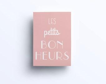 Pastel pink typographical postcard - Les petits bonheurs