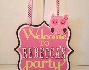 Owl birthday door sign, Owl theme birthday, Owl door sign, Door sign