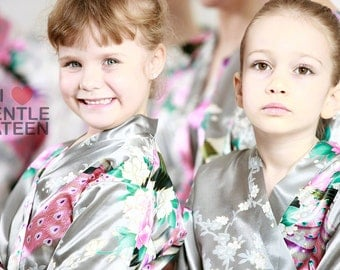 Flower Girl Robe, Wedding Gift for Flower Girl, Bridesmaid Party Robes, Birthday Spa Party, Bridesmaid Robes, Flower Girl Robes, Kimono Robe