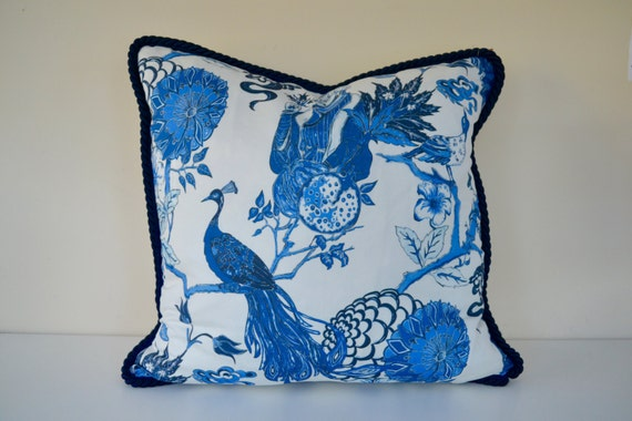 items similar to 18 x18 navy floral pillow cover dark blue cord pillow peacock fabric. Black Bedroom Furniture Sets. Home Design Ideas