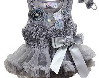 Baby Tutu Dress Outfit- Rosettes Silver Bodysuit Pettiskirt Tutu With Headband - First Birthday Dress  Newborn To 18 Months