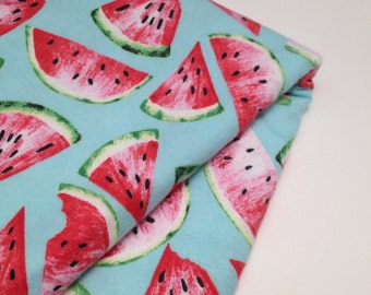 Cotton flannelette baby wrap or blanket in extra large size. Watermelons