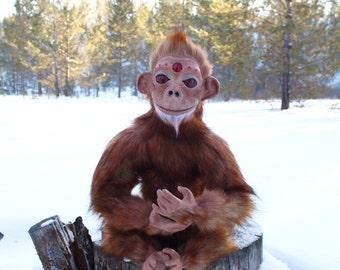 Art doll fiery red monkey symbol 2016