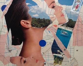 "Portrait art, canvas art, surreal art, paper collage, original collage art, canvas wall art, surreal collage, collage art ""Head on vacation"""