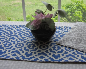 "Keyhole Print Table Runner - 36"" Reversible Table Runner - Grey/White Table Runner - Royal Blue/White Runner -  Geometric Table Linens"