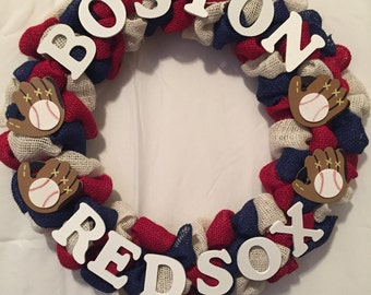 Boston Red Sox MLB Baseball burlap wreath