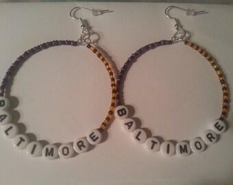 Baltimore earrings,Baltimore  Orioles earrings,  Baltimore ravens earrings