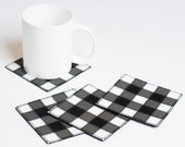 Drink Coasters, Patchwork Leather Coasters, Bar Decor, Beermat, Gift For Him, Mug Rug, Black Gray White Check, Gingham, Vichy, Set of 4