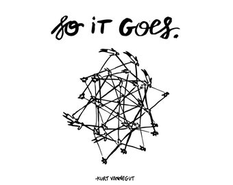 "Kurt Vonnegut Quote // Original Artwork // Digital Print // Literary Art // Typography // Kurt Vonnegut // ""So It Goes"""