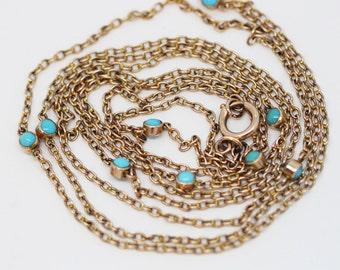 Late Victorian Art Nouveau Long Gold Chain Necklace Sautoir w Turquoise (#6048)