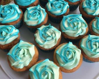 1 dozen cupcakes. Rainbow cupcakes also made in jars